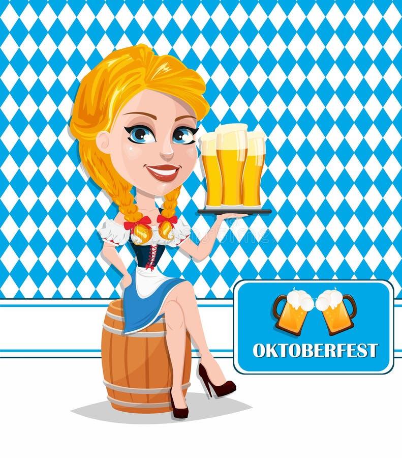 Insecte d'Oktoberfest avec la fille rousse sexy s'asseyant sur le baril et le h illustration stock