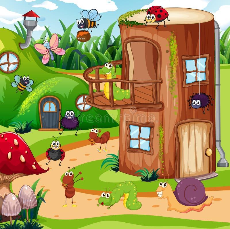 Insecte dans la maison féerique illustration libre de droits