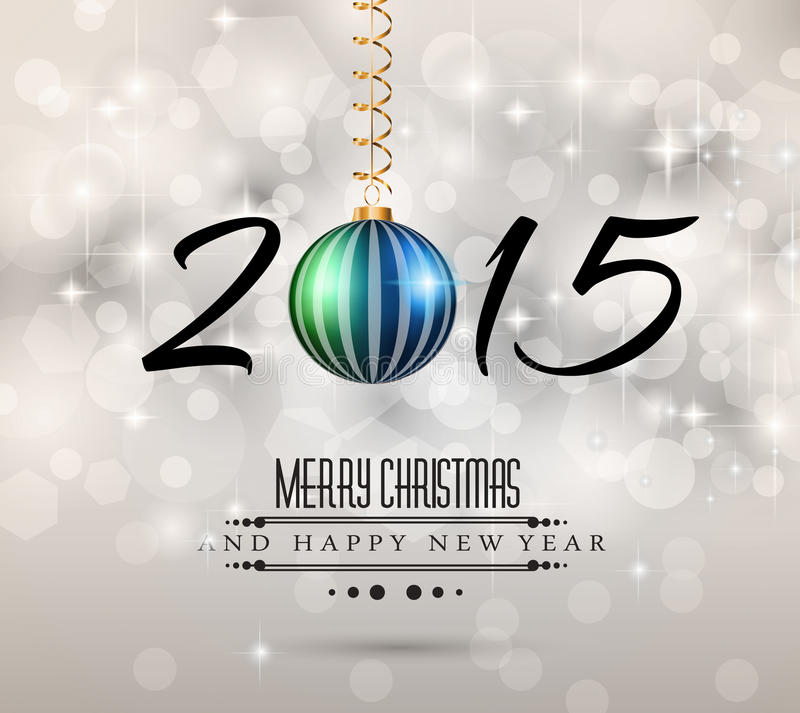 2015 insecte de Joyeux Noël et de bonne année illustration stock