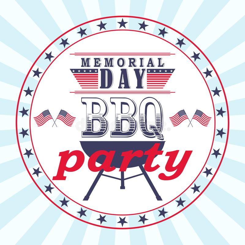 Insecte de partie de barbecue de Memorial Day de vecteur, carte, calibre d'invitation illustration stock