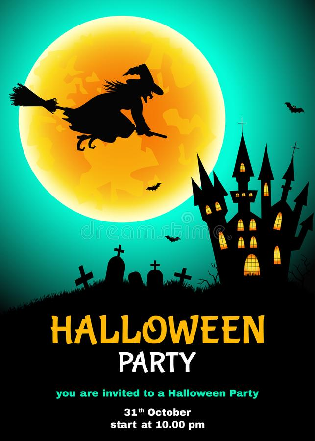 Insecte de partie de Halloween avec la silhouette de sorcière, cimetière, castl illustration de vecteur