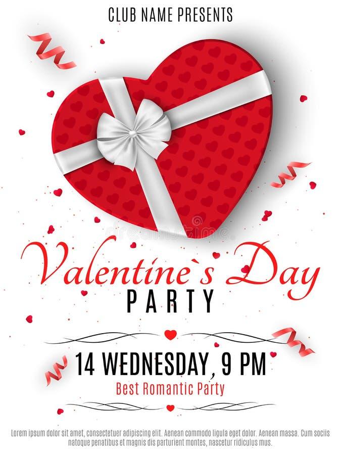 Insecte de partie de jour de valentines Boîte rouge du coeur et un ruban blanc avec un arc Composition romantique sur un fond bla illustration libre de droits