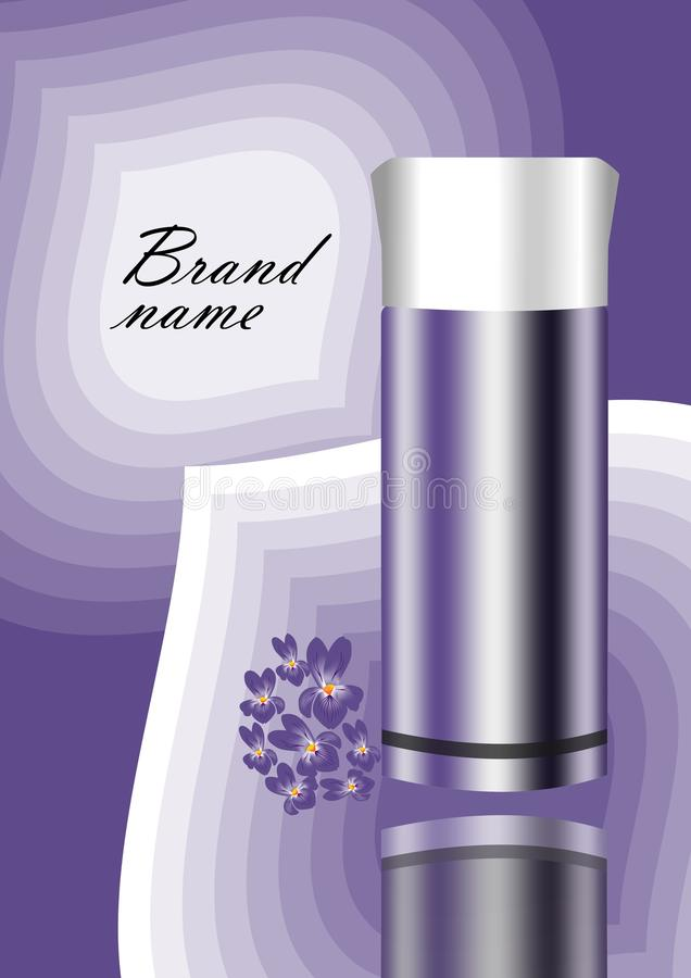 Insecte de publicité de cosmétiques dans la conception violette avec le fond abstrait, reflétant la bouteille et le groupe violet illustration stock