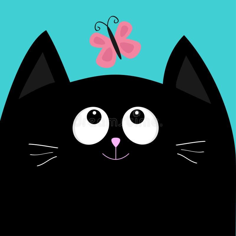 Insecte de regard principal de papillon de chat noir Personnage de dessin animé mignon Carte de collection de bébé d'animal famil illustration libre de droits