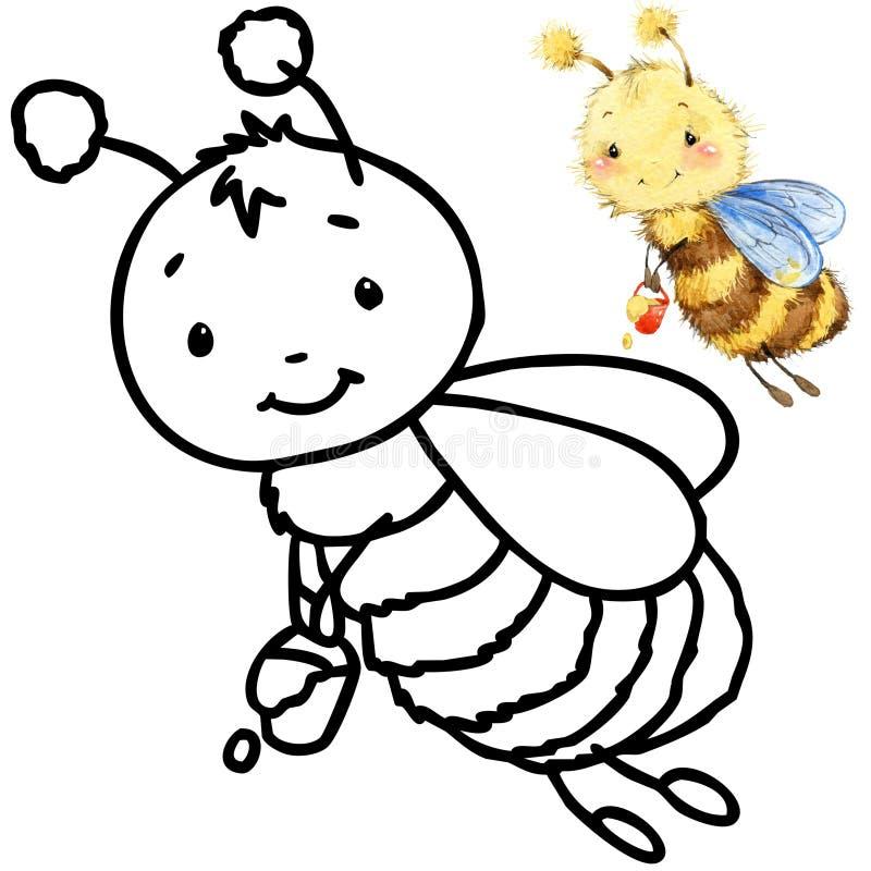 Insecte drôle de bande dessinée de livre de coloriage illustration de vecteur