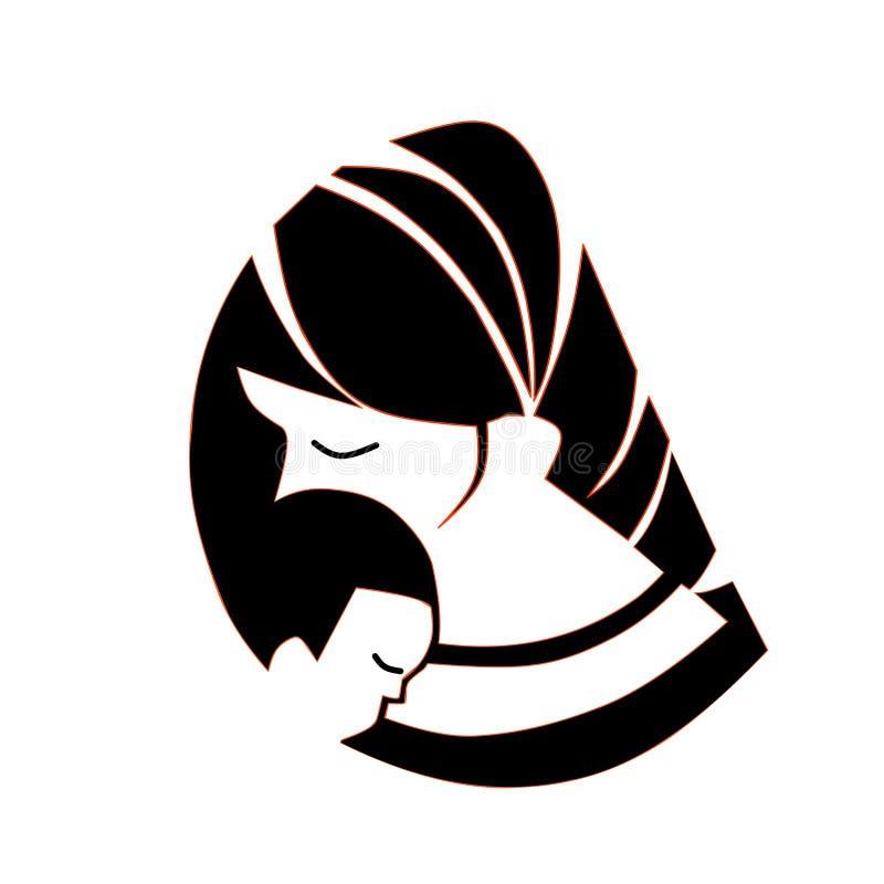 Insecte du jour de mère, bannière ou affiche heureuse, silhouette d'une mère tenant sa main de fils mite illustration stock