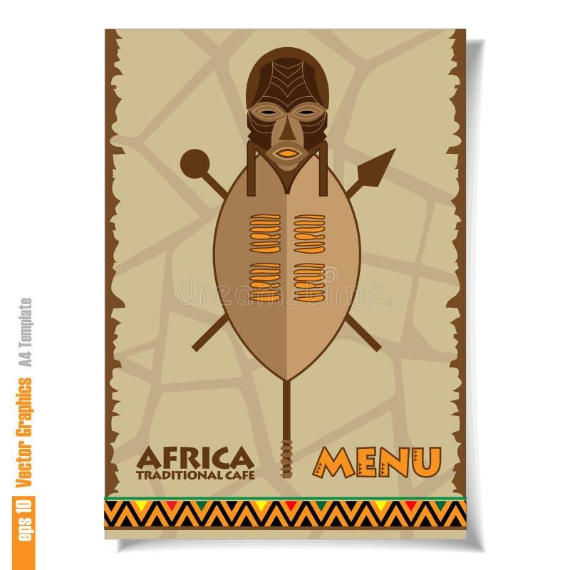Insecte et bannière de menu traditionnel de café de l'Afrique illustration stock