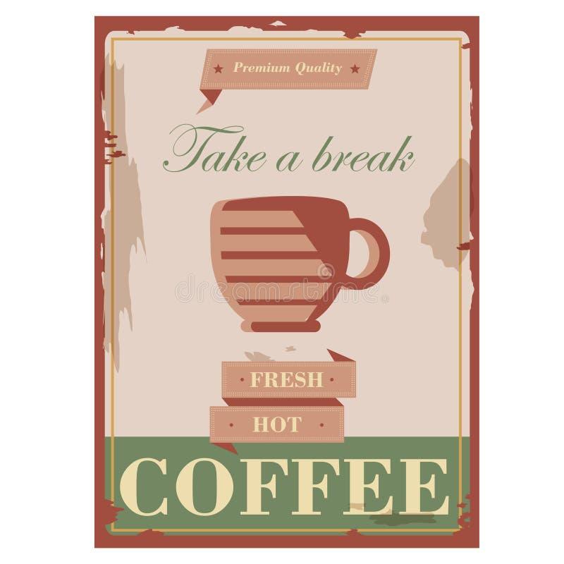 Insecte et couverture frais chauds de promotion de café de rétro conception de vintage illustration de vecteur