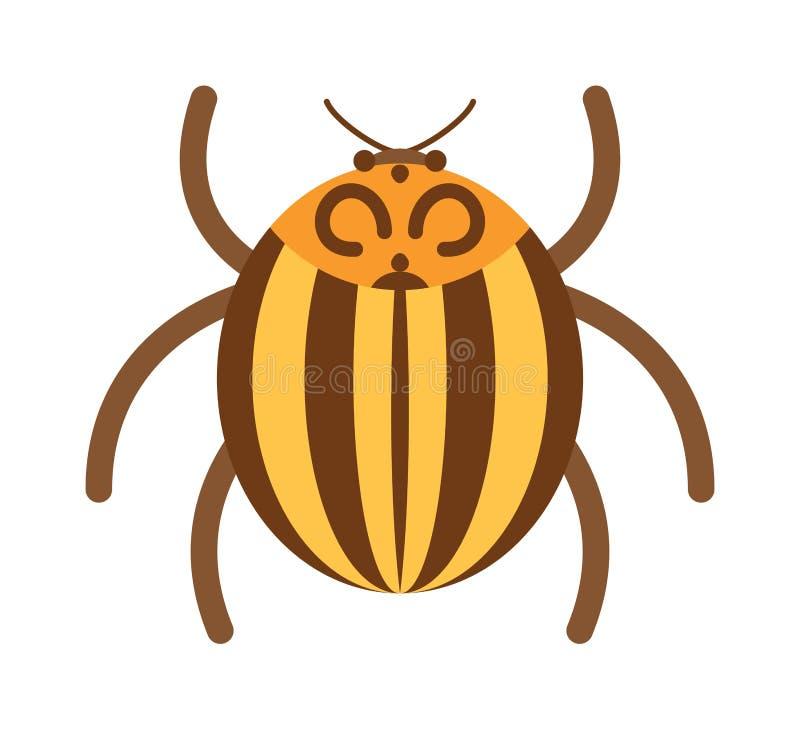 Insecte plat d'insecte de scarabée dans l'illustration de vecteur de style de bande dessinée illustration libre de droits