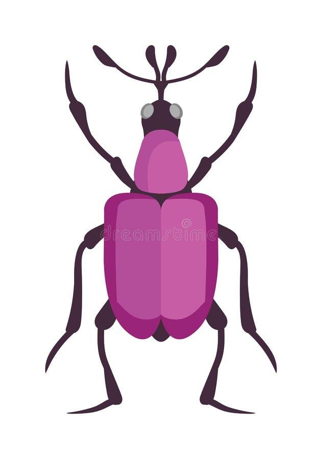 Insecte plat d'insecte de scarabée dans le vecteur de style de bande dessinée illustration libre de droits