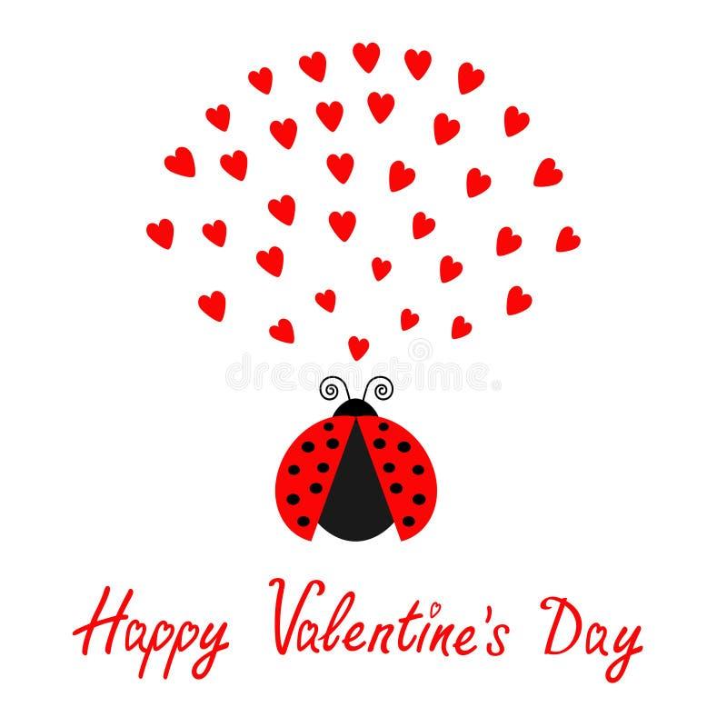 Insecte rouge d'insecte de dame de vol avec des coeurs Personnage de dessin animé mignon Jour de valentines heureux Carte d'amour illustration de vecteur