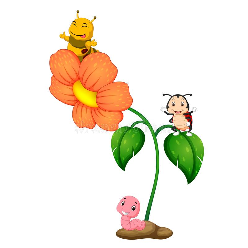 Insecte trois au-dessus de fleur illustration stock