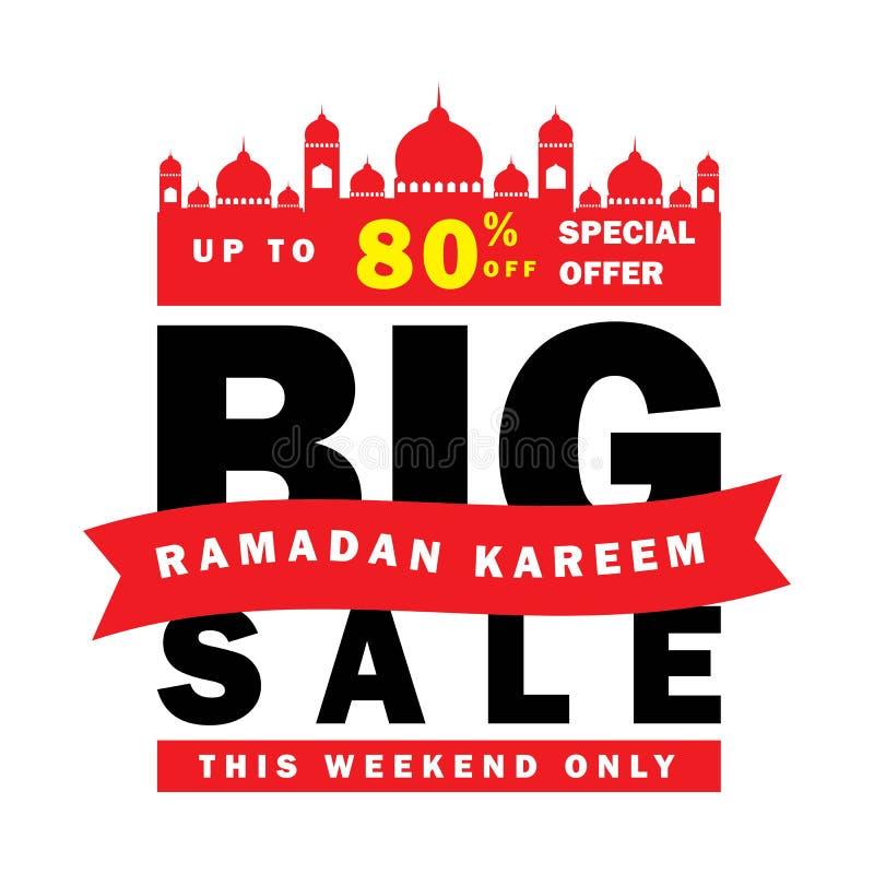 Insecte, vente, remise, carte de voeux, label ou occasion de bannière de Ramadan Kareem et d'Eid Mubarak Celebration illustration stock