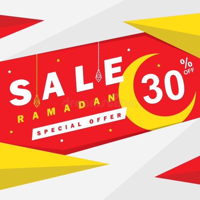Insecte, vente, remise, carte de voeux, label ou occasion de bannière de Ramadan Kareem et d'Eid Mubarak Celebration illustration de vecteur