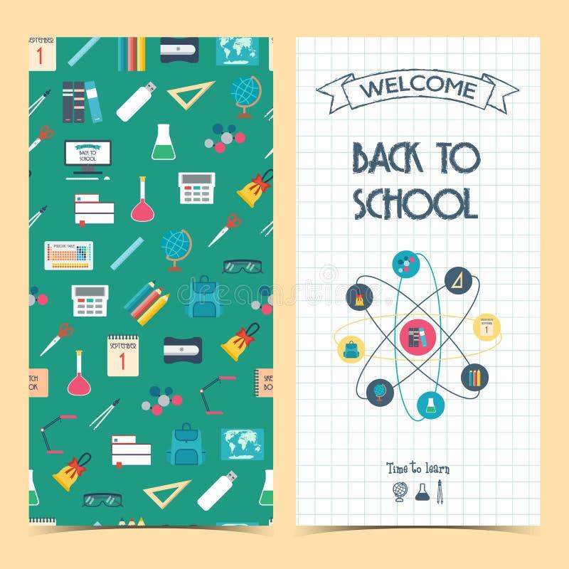 Insecte vertical bilatéral d'école, brochure, bannière De nouveau à l'école Fond sans couture ? illustration de vecteur