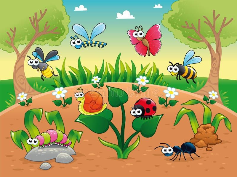Insecten + 1 slak met achtergrond. stock illustratie