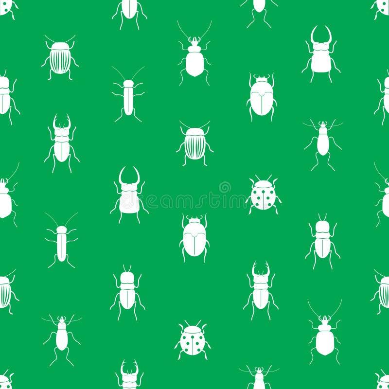 Insecten en kevers eenvoudig naadloos groen patroon stock illustratie
