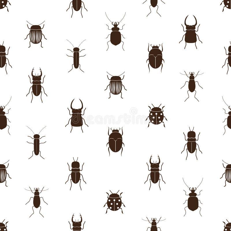 Insecten en kevers eenvoudig naadloos patroon royalty-vrije illustratie