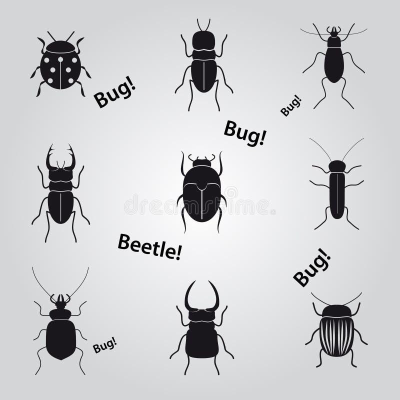 Insecten en kevers geplaatste pictogrammen stock illustratie