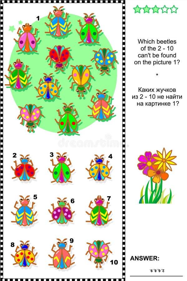 Insecten en kevers visueel logicaraadsel royalty-vrije illustratie