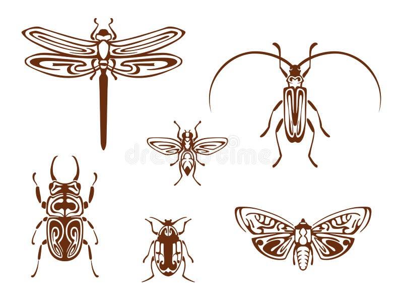 Insecten in stammen sierstijl royalty-vrije illustratie