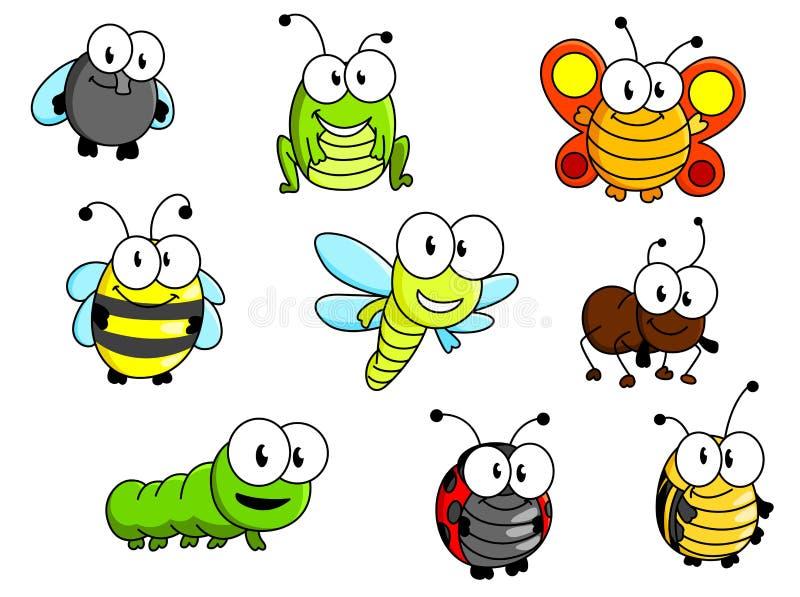 Insectes de bande dessinée réglés illustration de vecteur