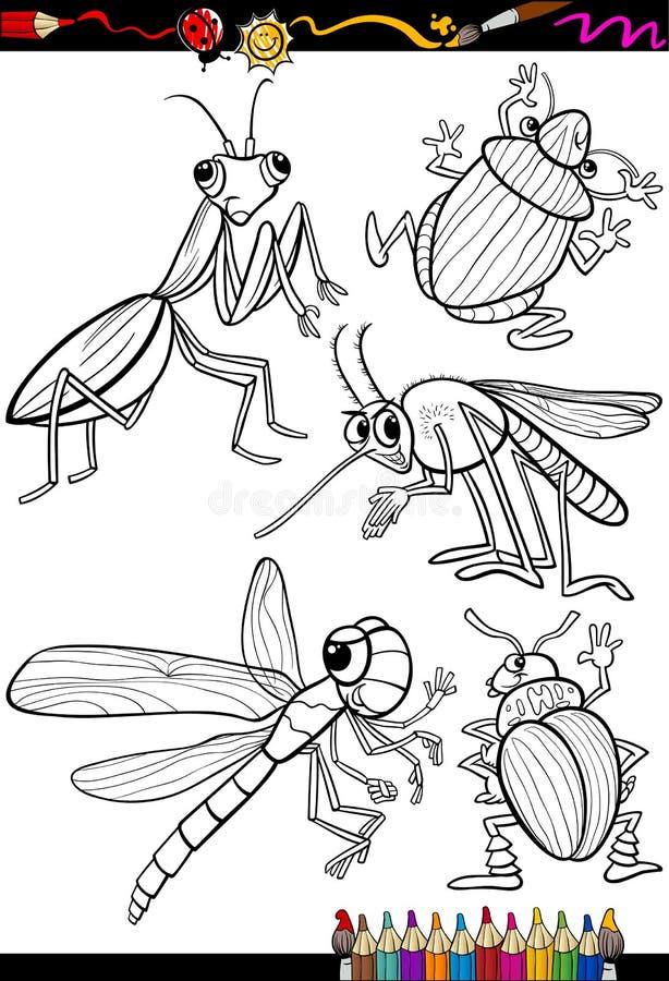 Insectes de bande dessinée réglés pour livre de coloriage illustration libre de droits