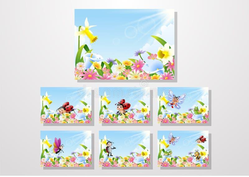 Insectes de bande dessinée sur l'ensemble de collections de gisement de fleur illustration de vecteur