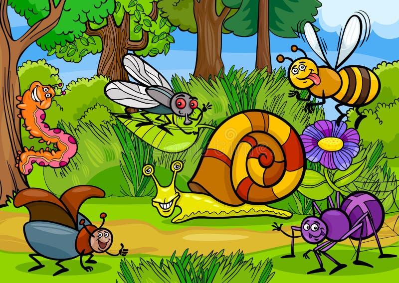 Insectes de bande dessinée sur la scène rurale de nature illustration stock
