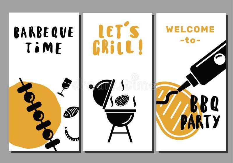 Insectes de barbecue et de gril Ensemble de descripteurs Idée pour la partie de BBQ, promotion de restaurant Fond blanc illustration de vecteur
