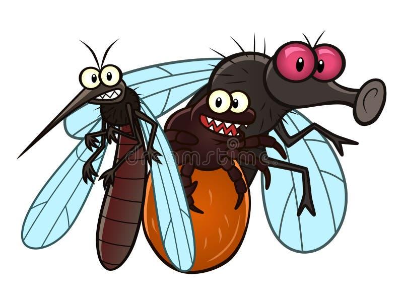 Insectes de parasite de ressort et d'été illustration libre de droits