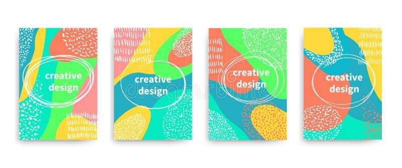 Insectes de vecteur, bannières, affiche, cartes, brochure avec la conception abstraite colorée illustration libre de droits