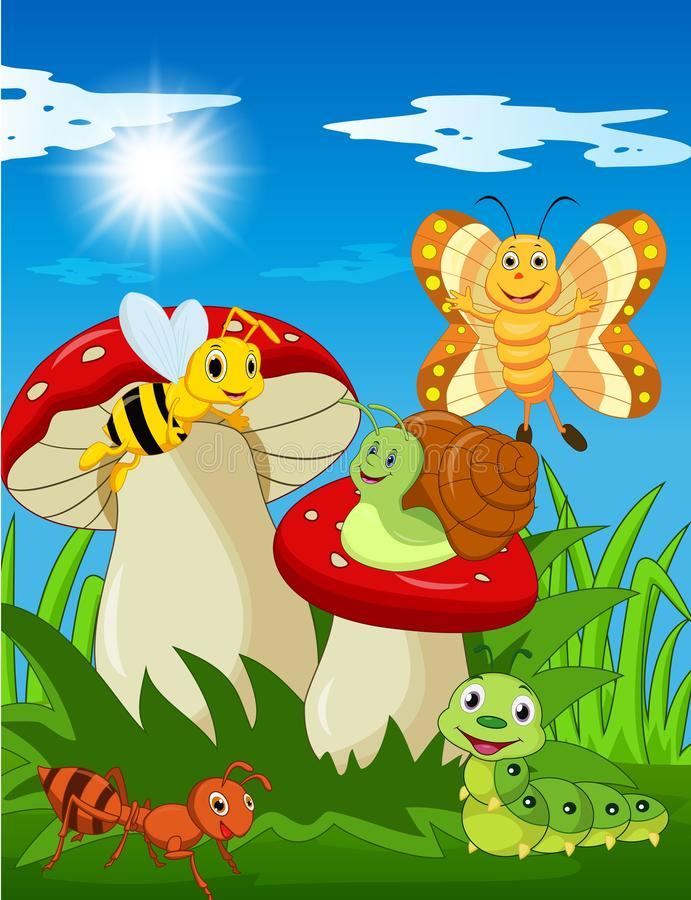 Insectes drôles de bande dessinée avec le champignon illustration stock