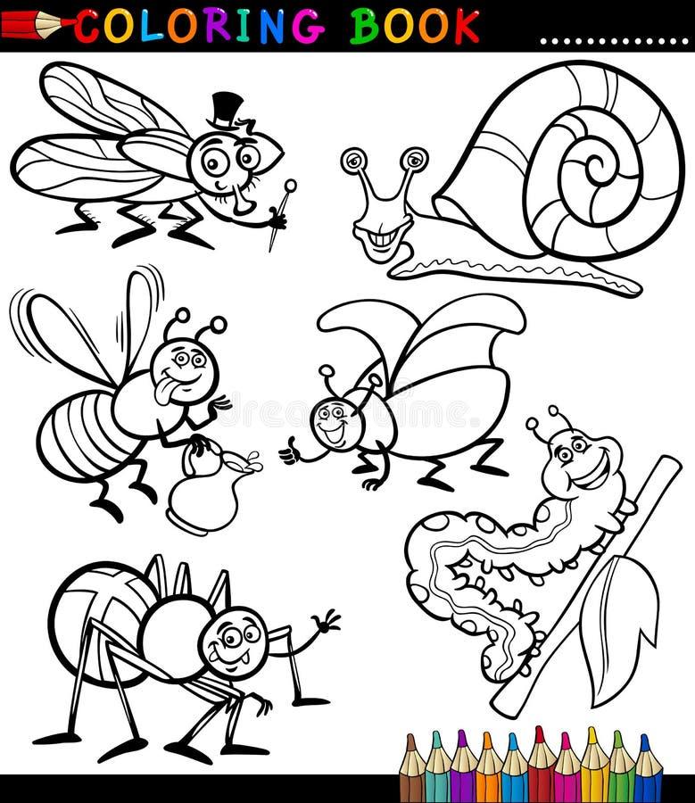 Insectes et bogues pour livre de coloriage illustration stock