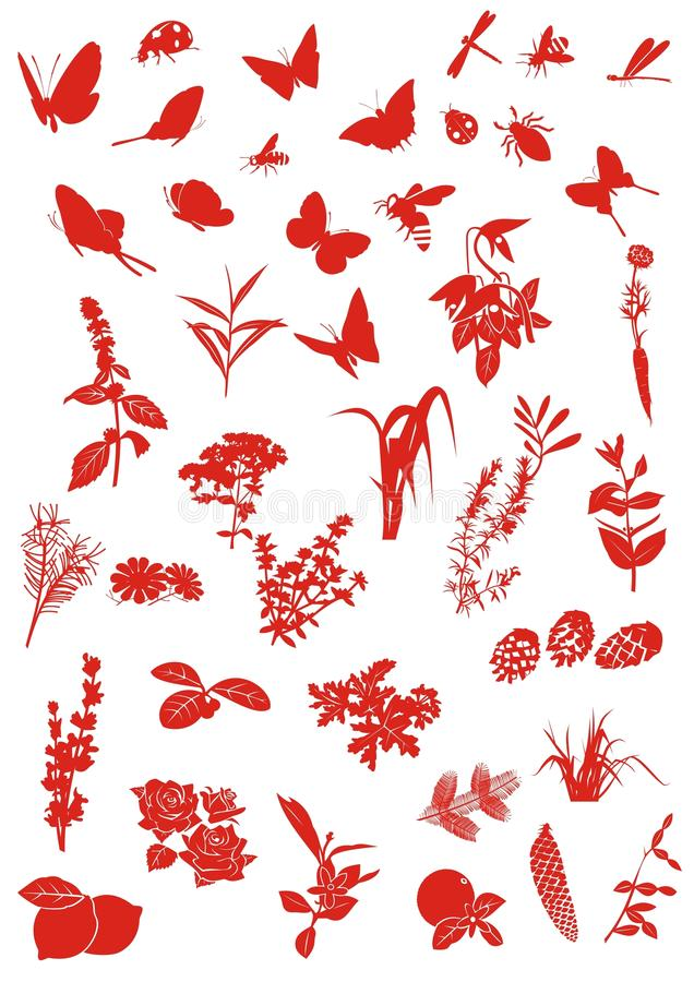 Insectes et centrales illustration stock