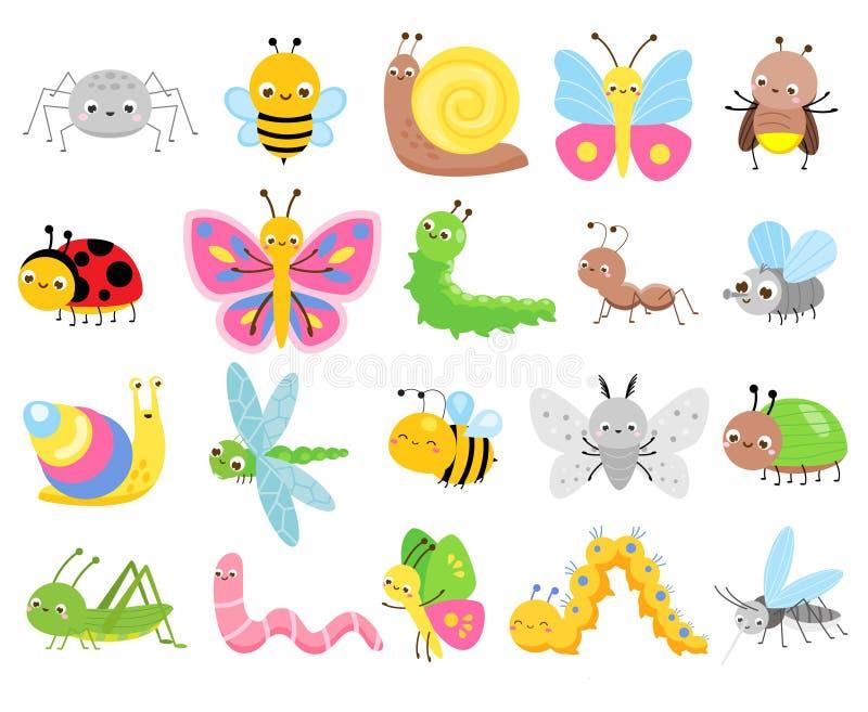 Insectes mignons Grand ensemble d'insectes de bande dessinée pour des enfants et des enfants Papillons, escargot, araignée, mite  illustration de vecteur