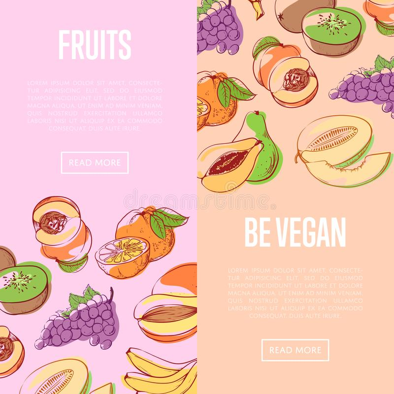 Insectes sains de nutrition de vegan avec des fruits illustration libre de droits