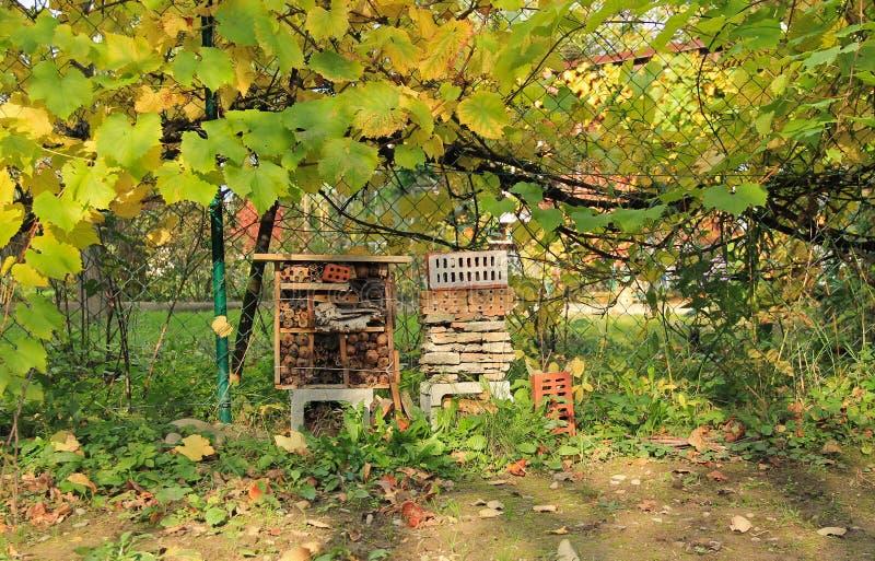 Insecthotel in de herfst stock foto's