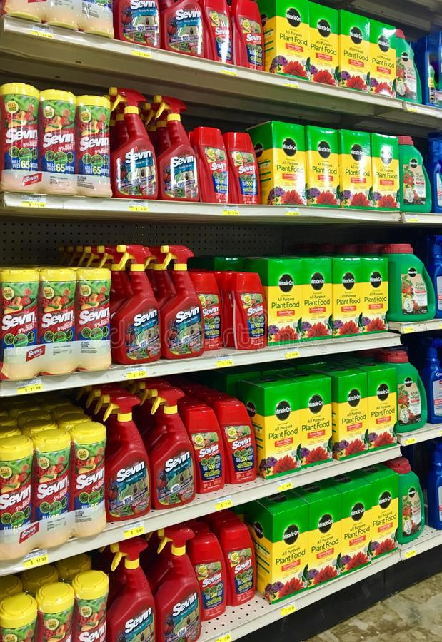 Insecticides and plant food at an Illinois farm and garden store royalty free stock photography