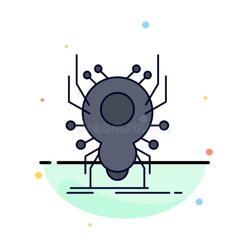 Insecto, insecto, araña, virus, vector plano del icono del color del App libre illustration