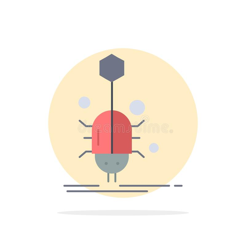 Insecto, insecto, araña, virus, vector plano del icono del color de la web libre illustration