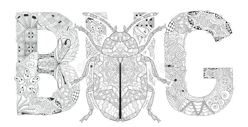 INSECTO De La Palabra Para Colorear Con La Silueta Del Escarabajo ...