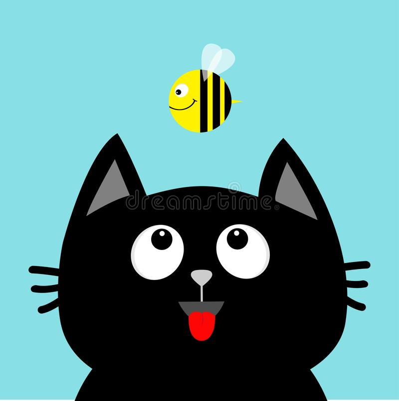 Insecto de mirada principal de la abeja de la miel del gato negro en Lengüeta roja Emoción sorprendida Personaje de dibujos anima ilustración del vector