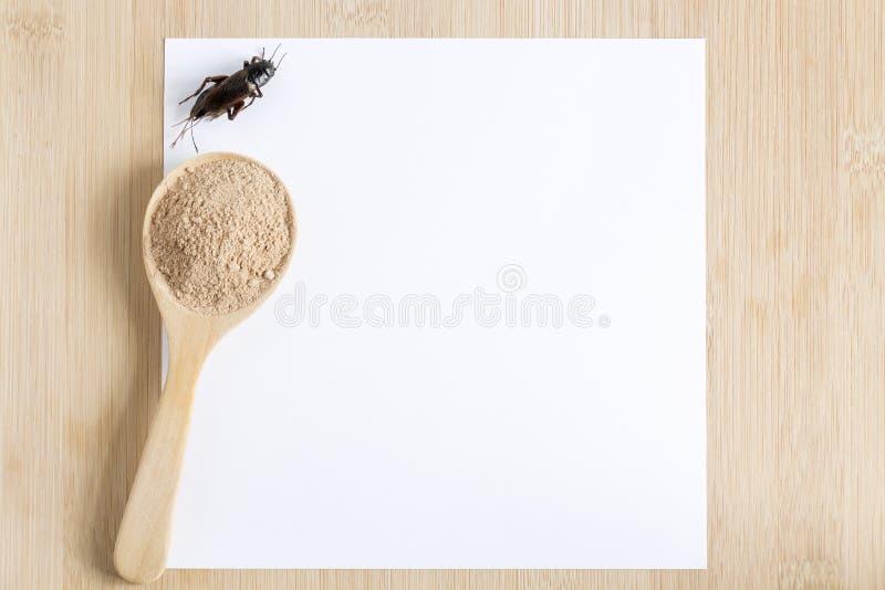Insecto del polvo del grillo para comer como comida en cuchara de madera con el Libro Blanco de la maqueta en fondo de madera es  fotografía de archivo