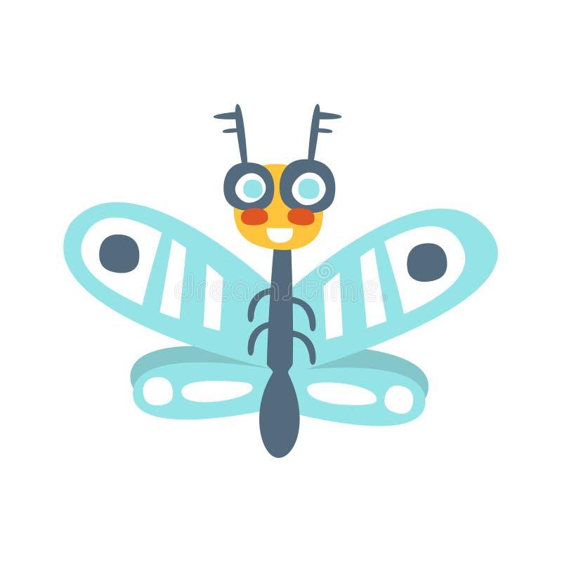 Insecto divertido de la mosca del vuelo de la historieta, ejemplo colorido del vector del carácter ilustración del vector
