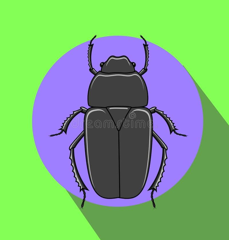 Insecto espeluznante extraño del escarabajo ilustración del vector