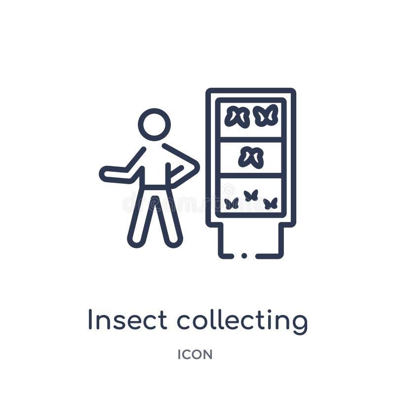 Insecto linear que recoge el icono de actividad y de la colección del esquema de las aficiones Línea fina insecto que recoge el v ilustración del vector