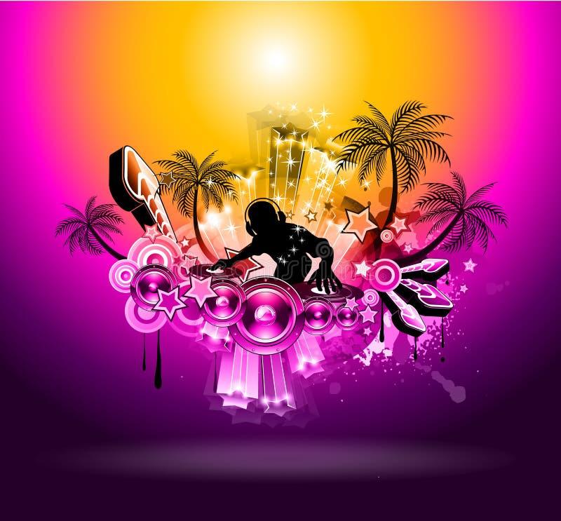 Insecto tropical do disco do partido da música do por do sol ilustração royalty free