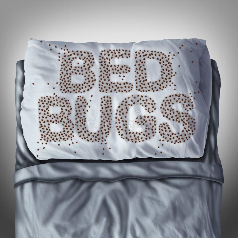 Insectos de cama en la almohada ilustración del vector