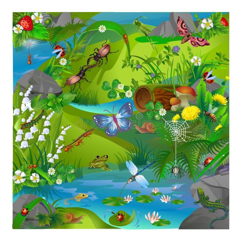 Insectos del bosque del ejemplo del vector stock de ilustración